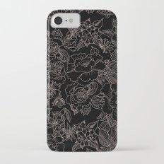 Pink coral tan black floral illustration pattern Slim Case iPhone 7