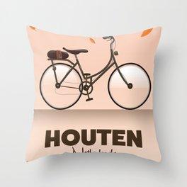 Houten Netherlands Cycling poster print. Throw Pillow