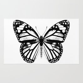 Monarch Butterfly   Black and White Rug