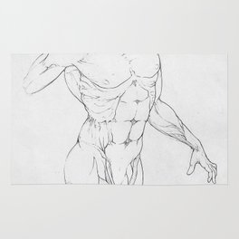 Man, pencil anatomy study, NYC artist Rug