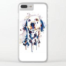 Dalmatian Head Watercolor Portrait Clear iPhone Case