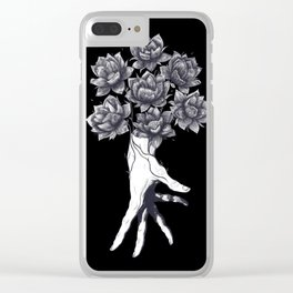 Hand with lotuses on black Clear iPhone Case