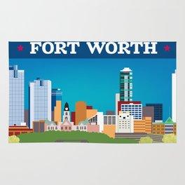 Fort Worth, Texas - Skyline Illustration by Loose Petals Rug
