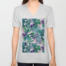 Pastel Summer Tropical Emerald Jungle Unisex V-Neck