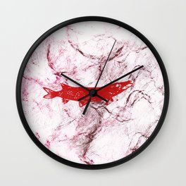 pike in the net (red version) Wall Clock