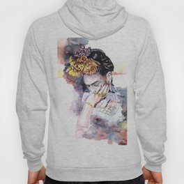 Frida Kahlo watercolor portrait Hoody