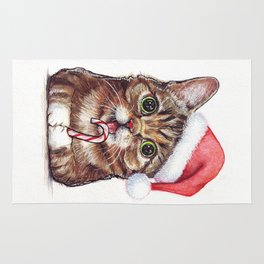 Christmas Cat in Santa Hat Whimsical Holiday Animals Rug