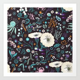 Subsea floral pattern Art Print