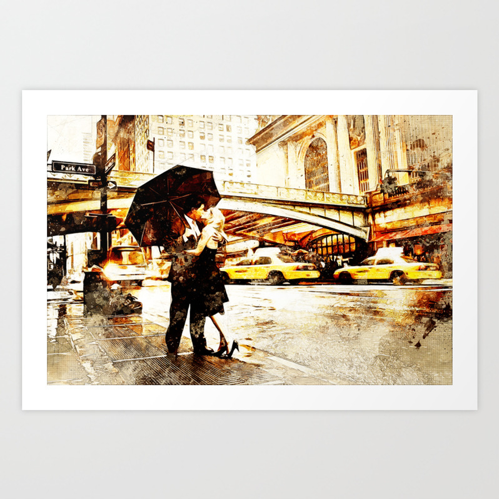 Love In The Rain (loving The Rain) Art Print by D77thedigartist PRN8597572