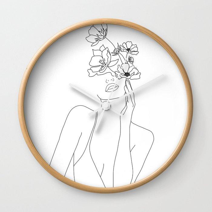 Minimal Line Art Woman with Flowers Wall Clock