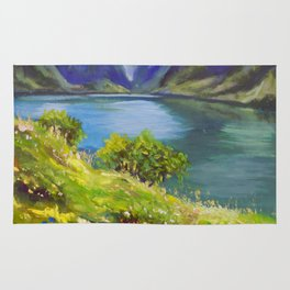 Shore of flowers on lake in mountains - original oil painting by Rybakow Rug