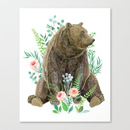 bear sitting in the forest Canvas Print