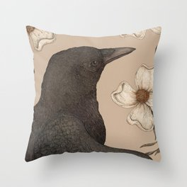 The Crow and Dogwoods Throw Pillow