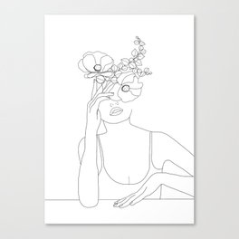 Minimal Line Art Woman with Flowers II Canvas Print