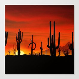 Illustration of cactus tree when the sunset Canvas Print