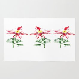 Red Columbine Flower in watercolor Rug