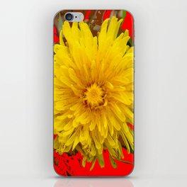 DECORATIVE  YELLOW DANDELION BLOSSOM ON ORGANIC RED ART iPhone Skin