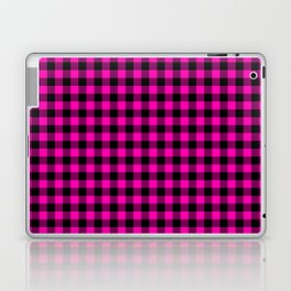 Bright Hot Neon Pink and Black Gingham Check Laptop & iPad Skin