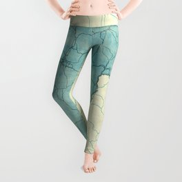 Vermont State Map Blue Vintage Leggings