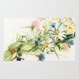 Bouquet of Wildflowers Original Colored Pencil Drawing Rug
