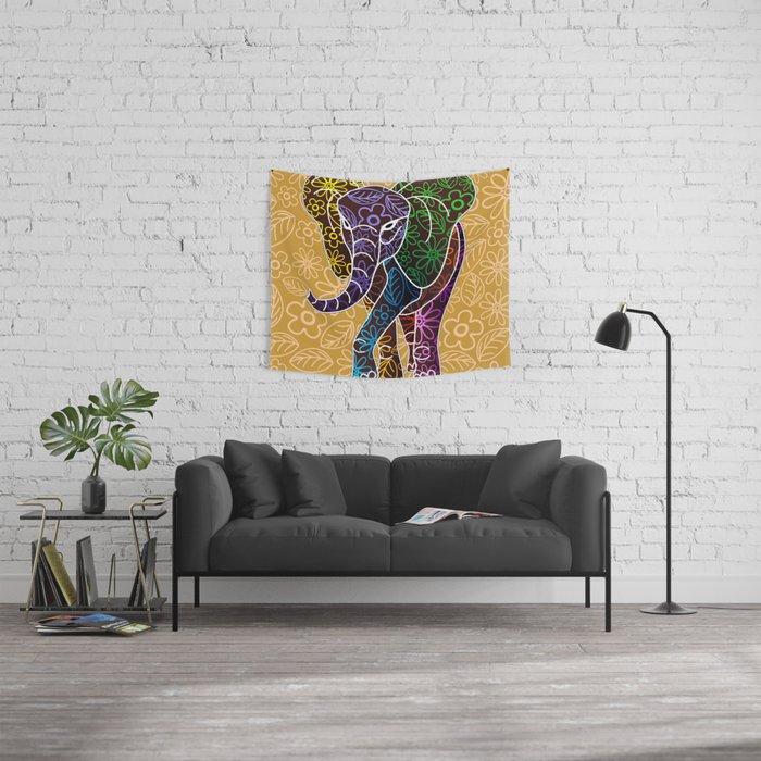 Elephant Floral Batik Art Design Wall Tapestry By