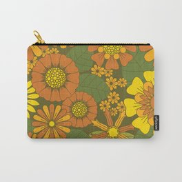 Orange, Brown, Yellow and Green Retro Daisy Pattern Carry-All Pouch