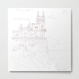 Old medieval castle on the cliff, wall art Metal Print