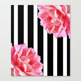 Pink roses on black and white stripes Canvas Print