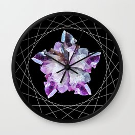 Crystal Totem Line Work Occult Tattoo Style Illustration Wall Clock