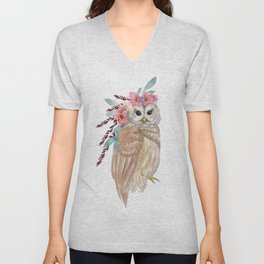 Owl with flower crown Unisex V-Neck