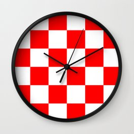 Large Checkered - White and Red Wall Clock