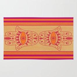 Double Orange Denim Hamsa Rug