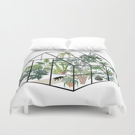 greenhouse with plants Duvet Cover