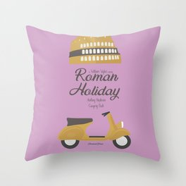 Roman Holiday, Audrey Hepburn,movie poster, Gregory Peck, William Wyler, romantic hollywood film Throw Pillow