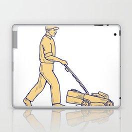 Gardener Mowing Lawnmower Drawing Laptop & iPad Skin
