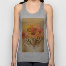 Tabby Cat with Daisy Flower Crown, Mustard Yellow Background Unisex Tank Top