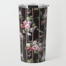 Elegant faux rose gold black stripes vintage blush pink lavender floral Travel Mug