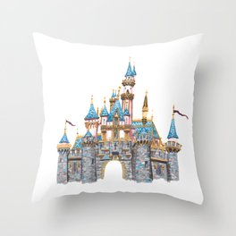 Princess Castle / Sleeping Beauty / Disneyland / Fine Art Giclee Print Throw Pillow