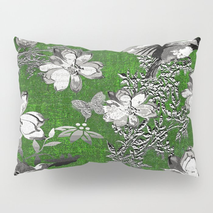 Birds Green Gray White Toile Pillow Sham