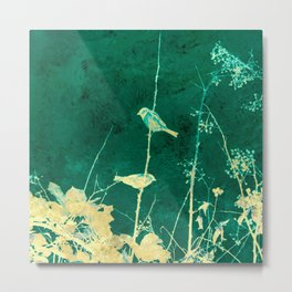 Yellow Birds on Vine Metal Print