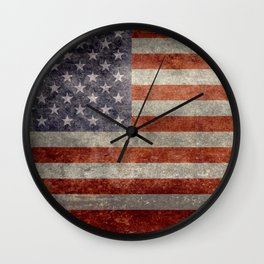 USA flag - Retro vintage Banner Wall Clock
