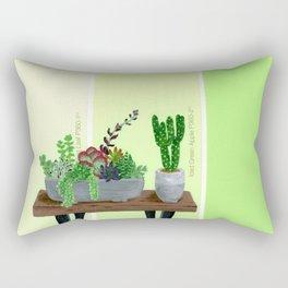 Cacti and Succulents on Greens Rectangular Pillow