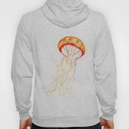 orange jellyfish watercolor Hoody