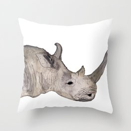 Watercolor Rhino Throw Pillow