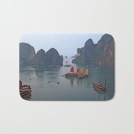 Sailboats in Ha Long Bay Bath Mat