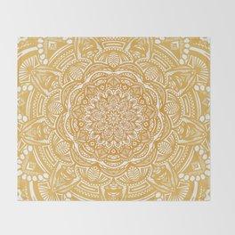 Golden Mustard Yellow Orange Ethnic Mandala Detailed Throw Blanket