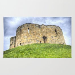 York Castle And Daffodils Rug