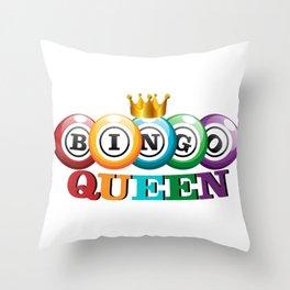 Bingo Queen Bingo Player Gift Funny Throw Pillow