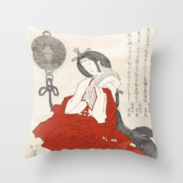 Woman with incense burner by Totoya Hokkei Throw Pillow