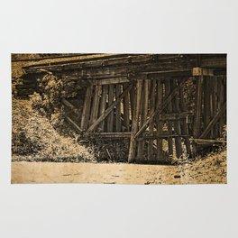 Rustic Wooden Railroad Bridge, Grunge Rug